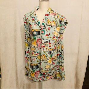 Nick & Nora Art Paint Long Sleeve pajamas set sz L